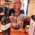 Brenda enjoying her glass of wine