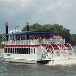 There are several paddlewheeler boats on the river