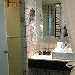 bathroom entry, bathtub on right hidden