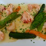 The seafood dish with lobster and scallops in a 1976 Vouvray sauce