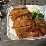 Chicken katsu with white rice, macaroni salad, broccoli, glass noodles and potatoes. Delicious a