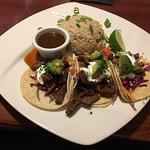Delicious Asian chicken salad and Korean beef tacos