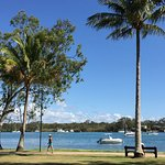 The beautiful Noosa River is just across the road