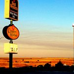 Early morning breakfast at Country Kitchen, a short drive west of the Westerner Motel, Chadron,