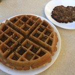 Pecan waffle w/ homemade sausage