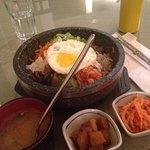 Miso soup, beef bibimbap, korean potatoes, kim chee