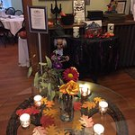 Reception area decorated for Halloween.