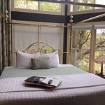 Bed and view in lovely Treetop Suite!