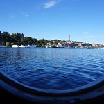 Porthole view side facing away from Gamla Stan