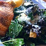 Grilled Salmon with Kale Caesar Salad