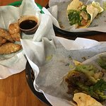 Half eaten,but dumplings, chicken taco, and beef bulgogi taco