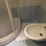 shower had mold and rust near base. No place for soap, etc. Had to step over bidet to shower