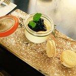 Lemon posset, blackberry compote, pecan custard creams