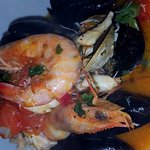 mixed seafood bowl.mussels,shrimps,clams and scallops