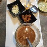 Risotto aux pétoncles / dorade remplie d'arrêtes avec encore des écailles / soupe de poisson-lan