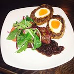 Home made scotch eggs and chargrilled lamb cutlets. Tasty!