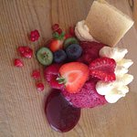 Cheesecake filled summer pudding