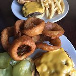 Zip Burger with Cheese, Onion Rings and Fries