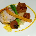 Pork loin & pressed shoulder, apple sauce, butternut squash, baby leeks & black pudding bon-bons