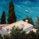 Another painting of house below the Villa from the side garden