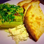 Spicy bean quesadilla with dressed side salad & coleslaw (V)