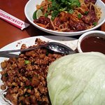 Thai noodles and chicken lettuce wrap
