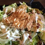 Grilled chicken salad with homemade ranch dressing.