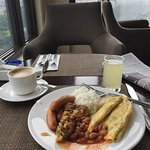 Breakfast looking out over the ramparts and golf course.