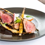 Desert Rubbed Rack of Lamb. Parsnip Mustard Puree, Parsley Ceci Tabbouleh. Charred Carrots. Smok