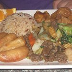 shrimp, rice, pork and vegetable beef
