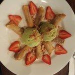 Banana Wontons and green tea ice cream!