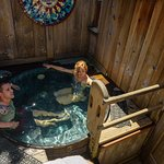 A view of one of our private hot tubs