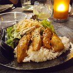 My meal; teriyaki chicken on white rice with salad. Yum!