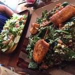 Braised romaine salad with grilled salmon