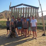 Our expedition team at the Entrance to Roots Camp