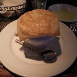 Lobster Bisque--giant, fluffy puff pastry on top!