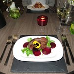 Pan Seared Pigeon starter at The Townhouse