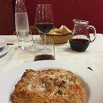 delicious lasagna and home wine