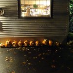 outside with Halloween decorations