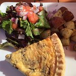 sald & oven roasted potatoes with quiche lorraine