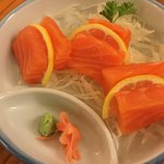 Salmon sashimi appetizer 6 large pieces of scottish salmon yum!