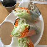 fresh spring roll GF with peanut sauce & GF soy sauce