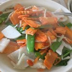 mixed vegetables daikon, bamboo shoots, watercress carrots pea pods in ginger sauce GF