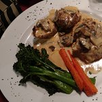 Prosciutto stuffed chicken in mushroom sauce