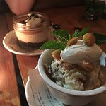 The tiramisu (front) and the salted caramel (back) desserts at Barbuzzo.