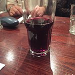 Dry unappealing food and wine served in a  thick glass tumbler!