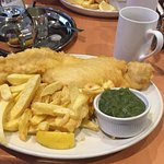 Perfect fish, chips & mushy peas!!!