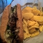 My wife's Philly Cheesesteak sandwich