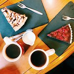 Pumpkin spiced coffee with a slice of cherry chocolate tart & peanut butter pie