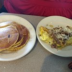 Philly cheese steak omelet, with Pumpkin pancakes